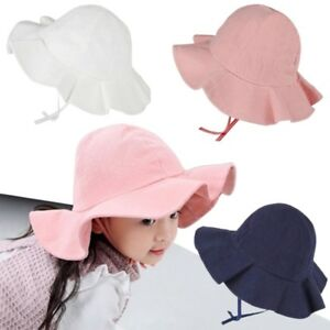 820b6ffbafd Baby Wide Brim Sun Hat Cotton Kids Bucket Cap Summer Beach Girls ...
