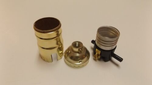 BRASS PLATED PUSH-THRU LAMP SOCKET FOR TABLE LAMP SWITCH NEW 30751J
