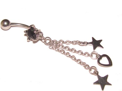 Navel Belly Bar BLACK Crystal Star with Dangle Heart and Stars