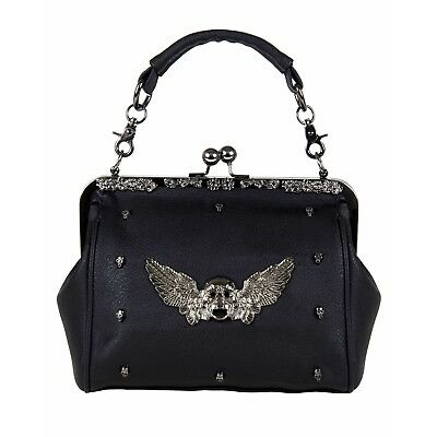 GOTHX SKULL HEAD WING Oversize Purse Ladies Handbag Punk Rock Goth Gothic PU Bag