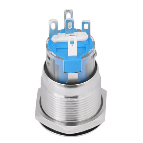 12V White LED Car Vehicle Waterproof Engine Start Stop Push Button Switch Silver