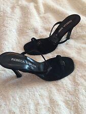 Diseñador Rebeca Sanver Tacones 5 Negro Brillo Cristal Apenas Hay Sandalias