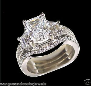3 00CT RADIANT CUT 3 STONE ENGAGEMENT RING WEDDING BAND 14K SOLID WHITE GOLD