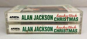 Lot-of-2-ALAN-JACKSON-Cassette-Tapes-Honky-Tonk-Christmas