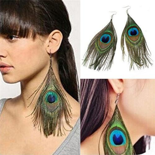 Moda mujer surtido color pavo real Pendientes de plumas naturales Pendiente SC