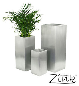 Image Is Loading Zinc Silver Steel Metal Tall Cube Planter Garden
