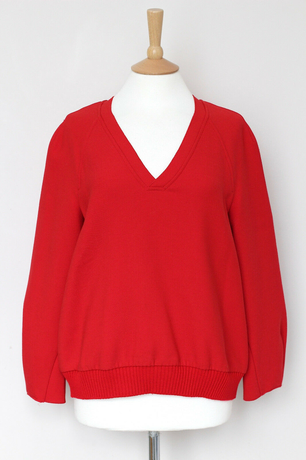 JIL SANDER Navy red wool ribbed jumper sweater UK8 US4 IT40 FR36 small