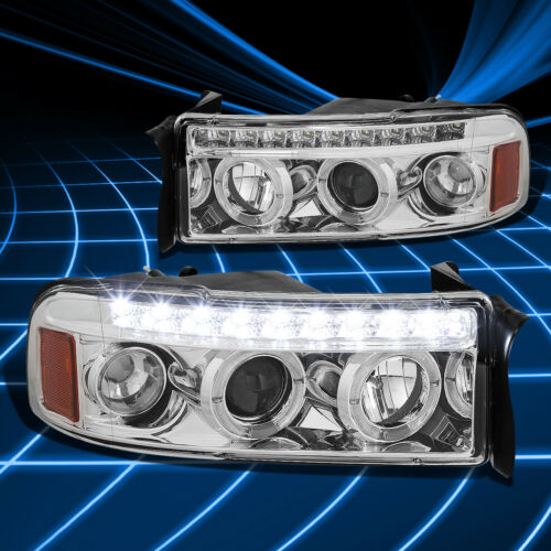 CHROME HOUSING TWIN HALO PROJECTOR+LED 1PC CLEAR HEADLIGHT+CORNER FOR 94-02 RAM