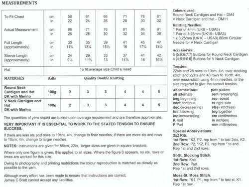 Filles Double Tricot DK Motif à Manches Longues Cardigan Chapeau Set James Brett JB182