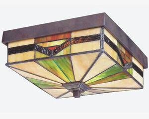 Tiffany-Style-Exterior-Outdoor-Flush-Mount-Ceiling-Light-Lighting-Fixture-BRONZE