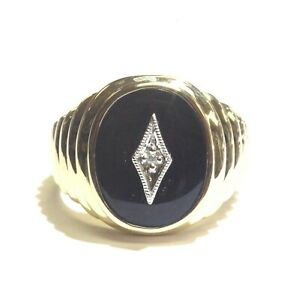 14k-yellow-gold-01ct-SI2-H-diamond-onyx-mens-ring-12-1g-gents-vintage-estate