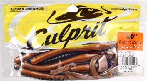 "Lot 3 Culprit Bass Fishing Sinkbait Lure C1010-08 10/"" Soft Plastic Worm Moccasin"