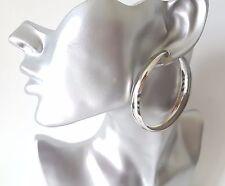 """Big & fab plain silver tone CLIP ON wide hoop earrings 6cm - 2.4"""""""