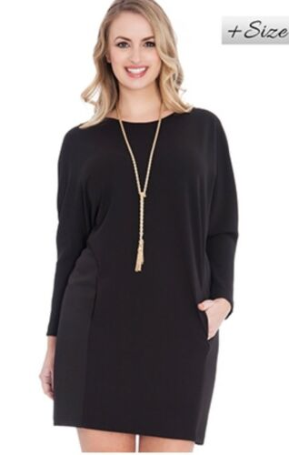 Women/'s Batwing Scoop Neck Plus Size Mini Dress Size 16 18 20 22 24 26