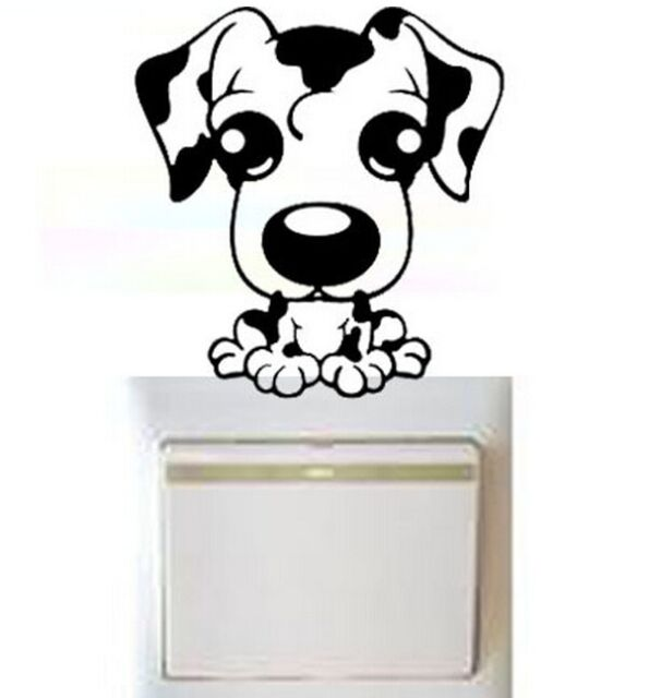 FD1247 Elegant Puppy Dog Switch Light Funny Wall Decal Vinyl Stickers DIY ~1pc