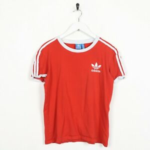Vintage-Women-039-s-Adidas-Originals-Small-Logo-T-Shirt-Tee-Rouge-UK-6