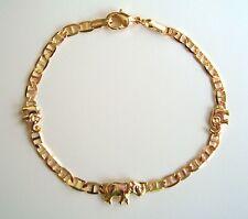 "GOLD FILLED ELEPHANT BRACELET-7,5""/PULSERA DE ELEFANTE PARA BUENA SUERTE-7,5"""