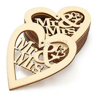 New 10X Unfinished Wooden Laser Cut Heart Shapes Craft Embellishments Decoration