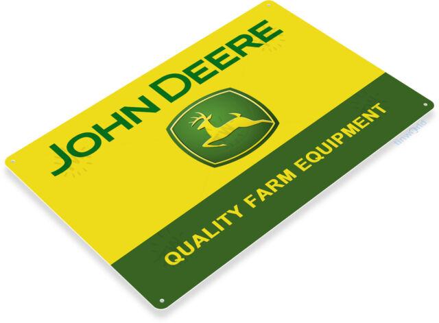 John Deere Trademark of quality embossed metal sign 20cm x 30cm