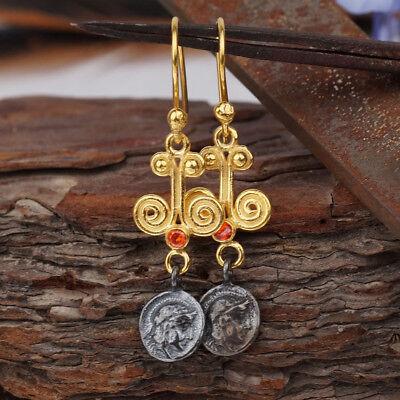 925 Sterling Silver Orange Topaz Coin Pendant Handmade By Omer 24k Gold Plated