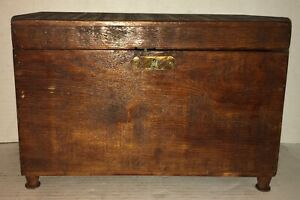 Beautiful-19TH-C-AMERICAN-FOLK-ART-DOCUMENT-BOX-Tea-Caddy-Miniature-Chest-Lock
