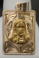 14kt Yellow Gold Double Sided Pendant Virgin Mary Jesus Diamond Cut Designs