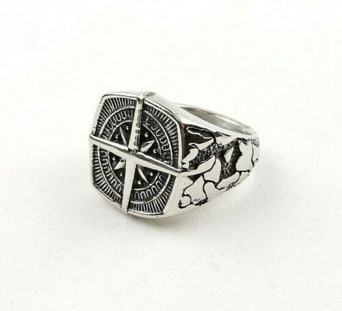 Stainless Steel Textured Compass Style Ring Free Gift Packaging