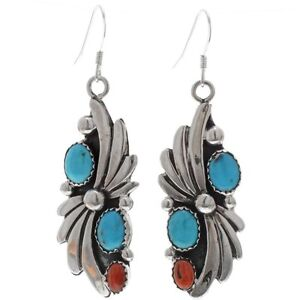 Handmade Native American Navajo Sterling Silver Turquoise French Hook Earrings