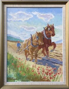 Oil-painting-expressive-Eric-Axel-tackstrom-1911-1992-Field-work-with-horses-60x47