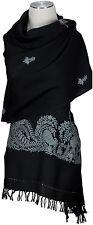Schal hand bestickt hand embroidered 100% Wolle wool scarf Kashmir Schwarz Black