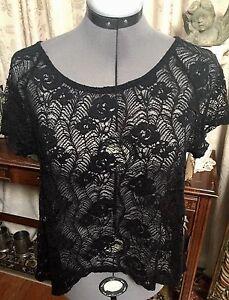 30797a71f42e Image is loading Super-Cute-Black-Lace-Top-Shirt-Blouse