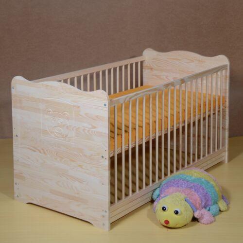 Babybett Gitterbett komplett Set Kinderbett UMBAUBAR MASSIVHOLZ Matratze 120cm