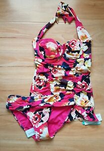NWT-Seafolly-Kabuki-Bloom-Twist-Bandeau-Singlet-AU-8-amp-Hipster-Pant-AU-10-L57