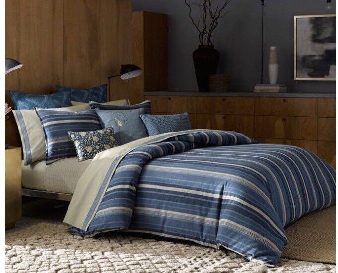New ED Ellen DeGeneres Azur Stripe Full Queen Duvet Shams 5 Pc Set Cotton Linen