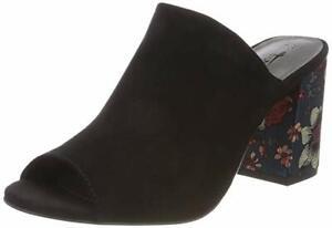 Details about Tamaris Womens 27288 Black Chinese Print Block Heel Open Toe Mules Sandals