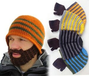 Beanie Hat With Detachable Beard Novelty Beard Hat Face Mask Winter ... 43f46776a1f
