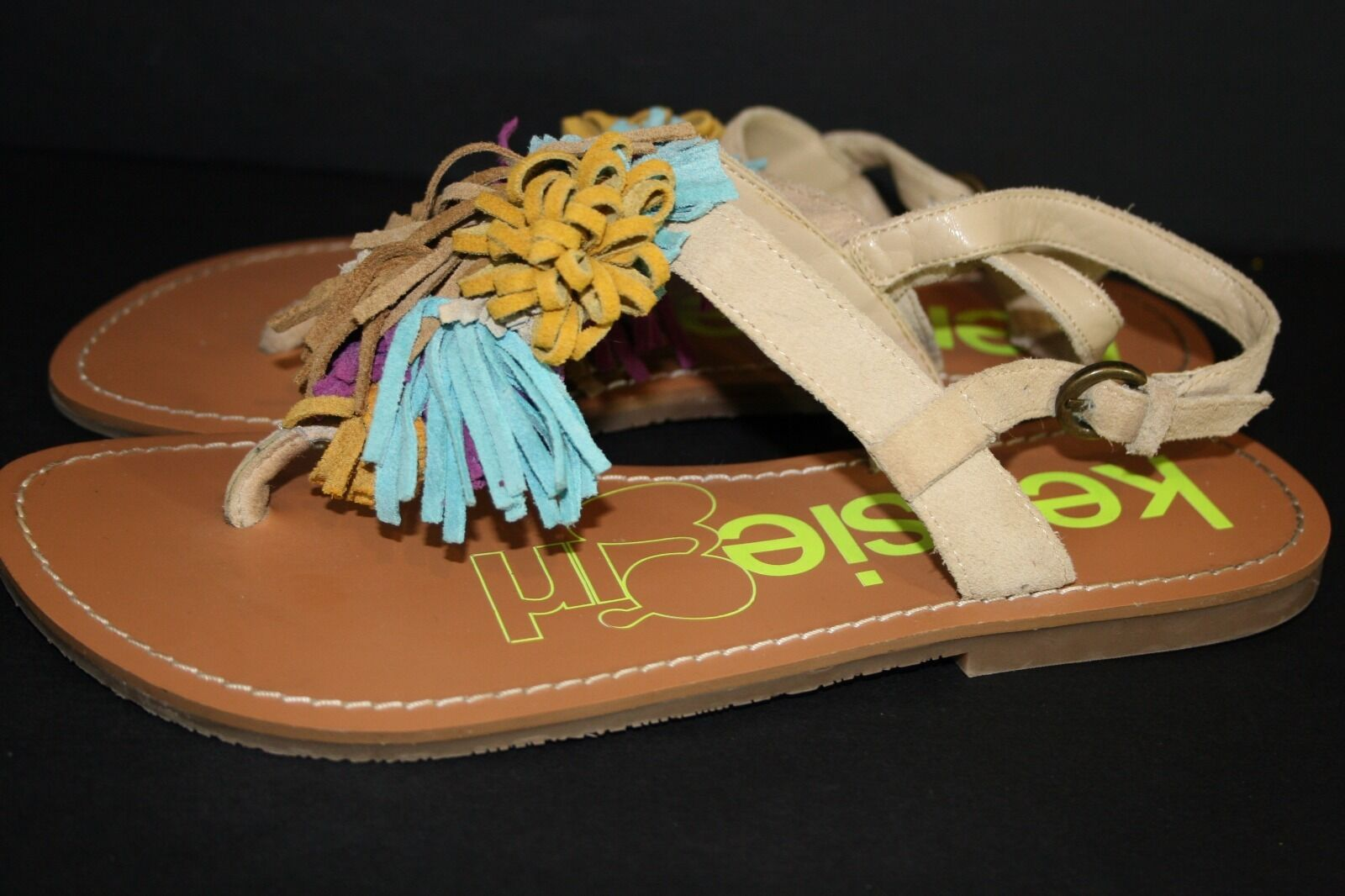 Kensie Girl KG-Shanell Flat Turquoise Suede Tassel Sandal Shoes Brown Turquoise Flat 7B f564c0