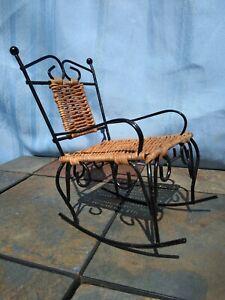 Vintage Wicker Rocking Chair American Girl Doll Wrought Iron Rocker 7 4 5 Ts17j Ebay