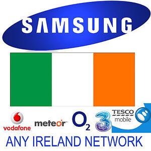 UNLOCK CODE SAMSUNG GALAXY S9 NOTE 8 S8 S7 EDGE S6 S5 IRELAND O2 VODAFONE THREE