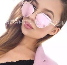 LUXE Rose Oro Rosa Occhiali da sole specchiato Cateye AVIATOR Celebrity Designer.1