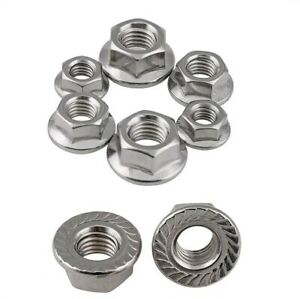 304 316 Stainless Steel Hex Flange Nut Non Slip Screw Cap Fine Left Hand Thread Ebay