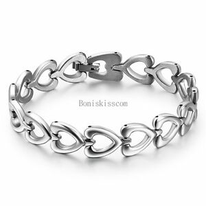 Women-039-s-Ladies-Silver-Stainless-Steel-Love-Heart-Link-Chain-Bangle-Bracelet