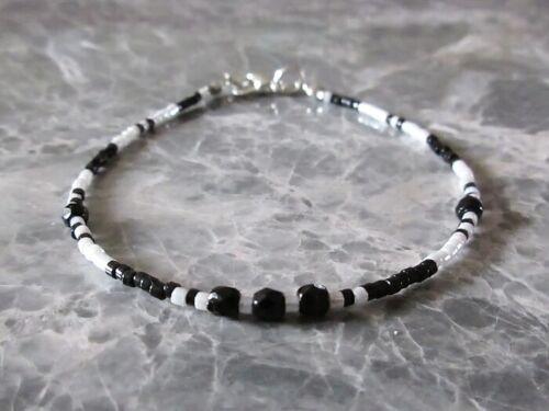 Black /& White Seed Bead Stacker Minimalist Bracelet Surfer Anklet Necklace