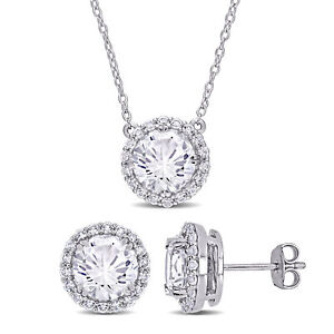 Amour Silver Created White Sapphire Halo Necklace & Stud Earrings Jewelry Set