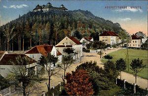 Augustusburg-Sachsen-Erzgebirge-alte-AK-1913-Panorama-Wohnhaeuser-Strassen-Partie