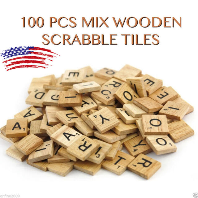 100 Wood Scrabble Tiles Wooden Black Numbers Letters Board Crafts Genuine Us New