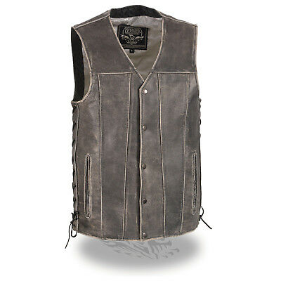 Milwaukee Leather Men/'s Distressed Brown Vest W// Side Lace /& Gun Pockets MLM3540