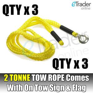 4 Metre Tow Rope Polypropylene Steel Hooks Max 2000kg Load