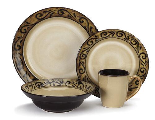 Nouveau Vaisselle Cercle Plaque Vaisselle service cuisine salle à manger Ware Set ISERE 16pc