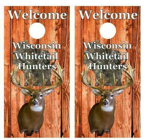 Wisconsin Whitetail Hunters Cornhole Board Decal  Wraps FREE LAMINATION  clients first reputation first